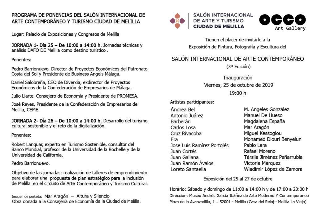 OCCO Art Gallery organiza la muestra artística del Salón de Internacional de Arte Contemporáneo Ciudad de Melilla. Sede en el Museo de Arte Moderno y Contemporáneo de Melilla. Exposición de pintura, escultura y fotografía.
